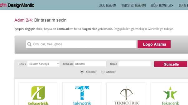 design mantic online logo olusturucu site