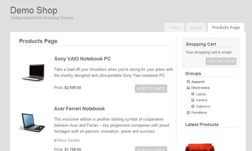 vanila cart 6 Free WordPress Shoping Cart Themes