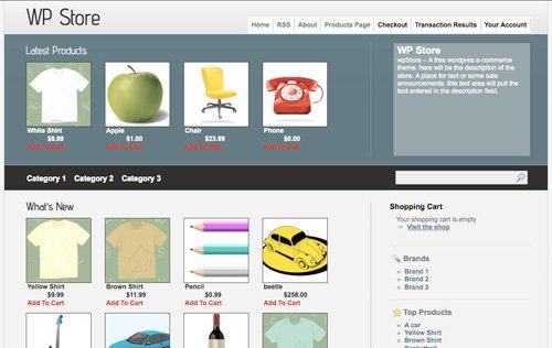 wp store 6 Free WordPress Shoping Cart Themes
