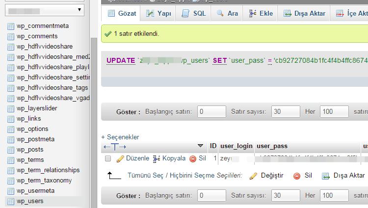 phpmyadmin-wordpress-sifresi-degistirme